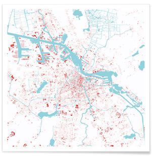 Amsterdam City Map als Poster von Maptastix | JUNIQE
