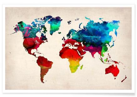 World Map Watercolor als Poster von Brian Buckley | JUNIQE