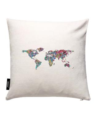 Buy world map cushions online juniqe uk world of leaves mareike bhmer cushion cover gumiabroncs Images