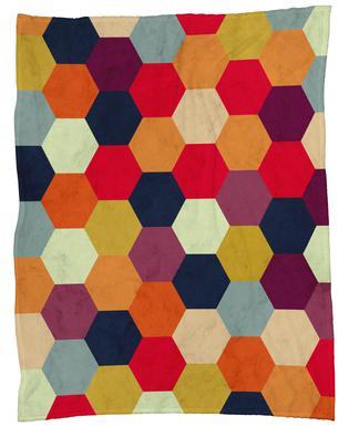 Colorful Beehive Pattern Fleece Blanket