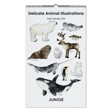 Delicate Animal Illustrations 2019 Wall Calendar