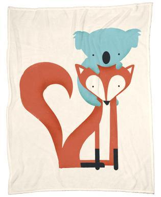 Fox and Koala Fleecedecke