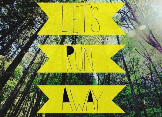 Let's Run Away - to the forest canvas doek