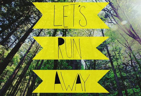 Let's Run Away - to the forest acrylglas print