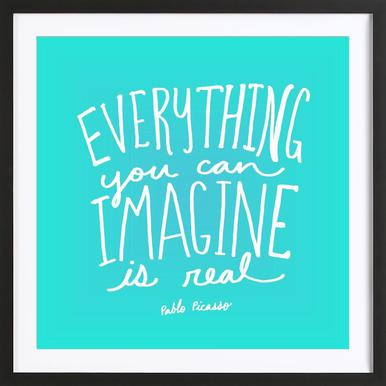 Imagine - Teal Poster in Wooden Frame