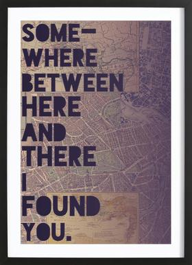 Here and There Poster in Wooden Frame