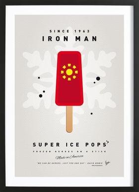 My Superhero Ice Pop - Iron Man Affiche sous cadre en bois