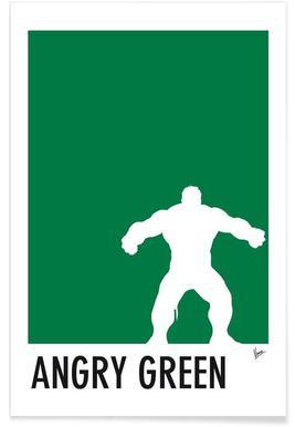 My Superhero 01 Angry Green Minimal Poster -Poster