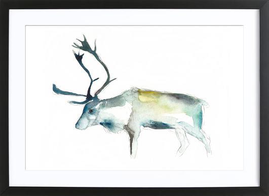 Reindeer 2 Poster in Wooden Frame
