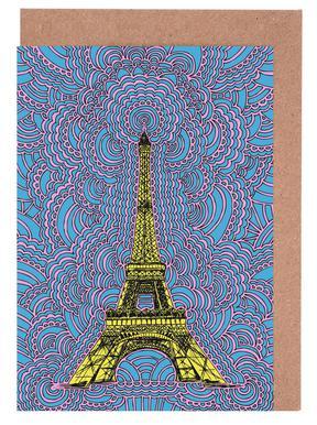 Eiffel Tower Drawing Meditation Yellow wenskaartenset