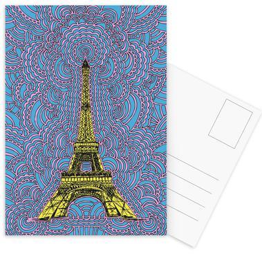 Eiffel Tower Drawing Meditation Yellow Postcard Set