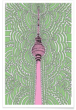 Fernsehturm Drawing Meditation (green) Poster