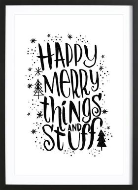 Happy Merry Poster in Wooden Frame