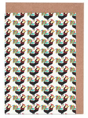 Whimsical Rooster Gang Set de cartes de vœux