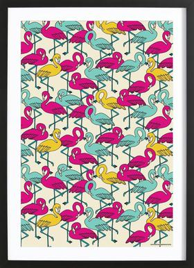 Wrapping Paper Flamingos Framed Print