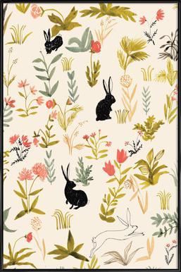 Black Rabbits Poster in kunststof lijst