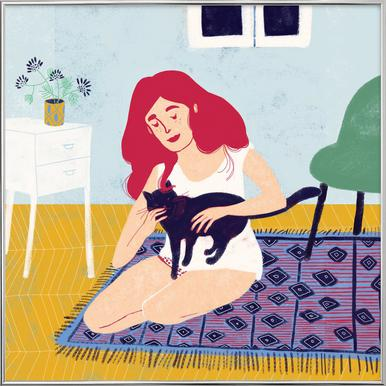 Room With A Cat -Poster im Alurahmen