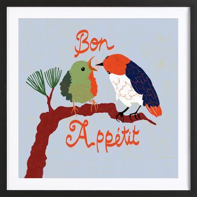 Bon Appétit Poster im Holzrahmen