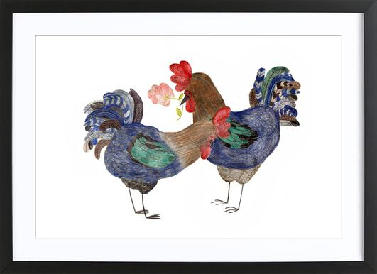 Roosters in Love Poster im Holzrahmen