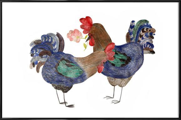 Roosters in Love Poster im Kunststoffrahmen