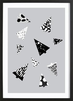 Christmas Trees Black & White Framed Print