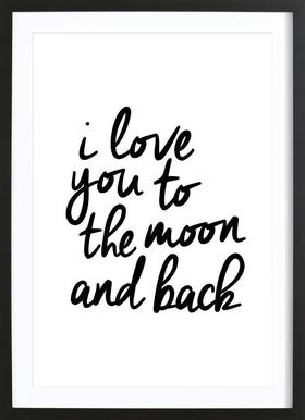 I Love You to the Moon and Back Poster in houten lijst