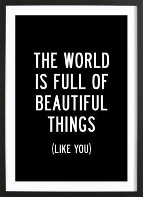 The World is Full of Beautiful Things Poster in Wooden Frame