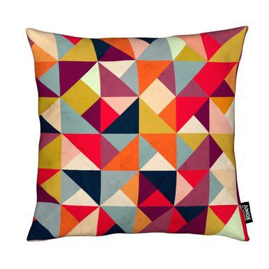 Bright Geometric Happy Pattern Cushion