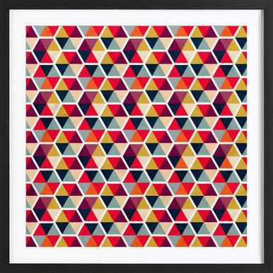Colorful Umbrellas Geometric Pattern Framed Print