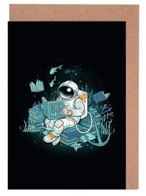 A reader lives a thousand lives - Cosmonaut Under The Sea wenskaartenset