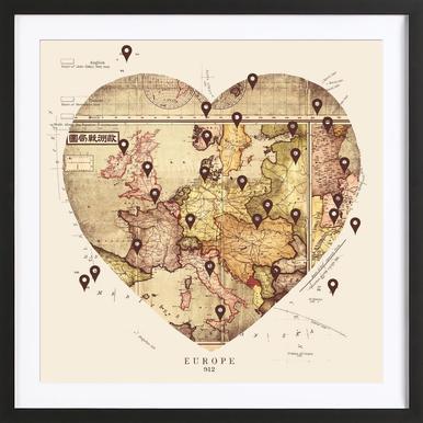 Love To Travel Poster im Holzrahmen