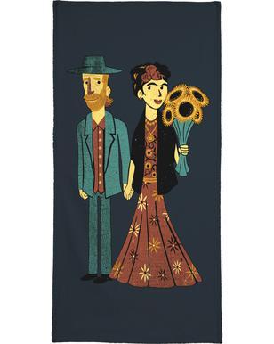 Love Is Art Frida Kahlo and Van Gogh Serviette de bain