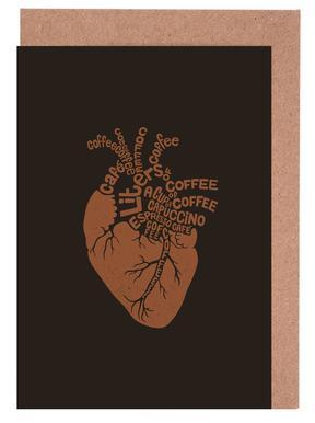 Coffee Lover Heart Greeting Card Set