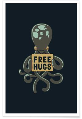 Free Hugs Octopus Poster