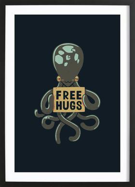 Free Hugs Octopus -Bild mit Holzrahmen
