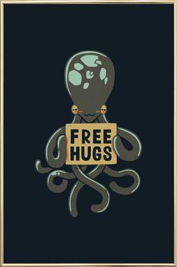 Free Hugs Octopus -Poster im Alurahmen