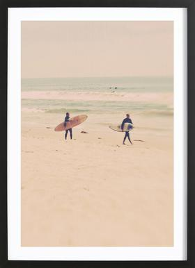 Two Surfers affiche sous cadre en bois