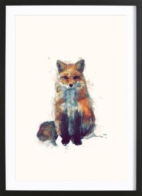 Fox affiche sous cadre en bois