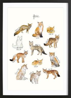 Foxes affiche sous cadre en bois