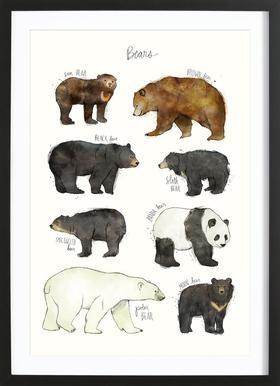 Bears affiche sous cadre en bois