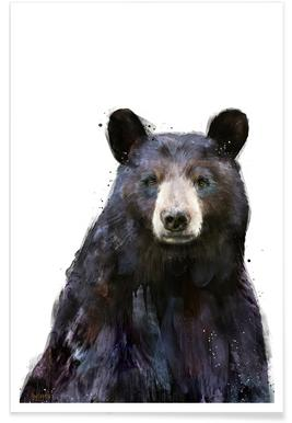 Zwarte beer illustratie poster