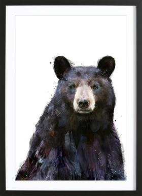 Black Bear affiche sous cadre en bois