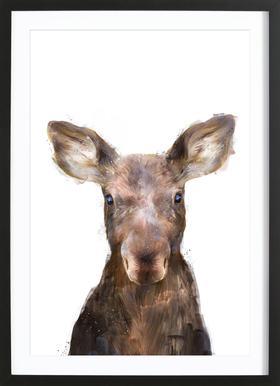 Little Moose affiche sous cadre en bois