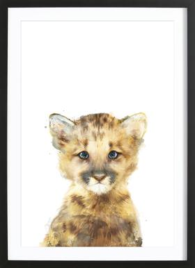 Little Mountain Lion affiche sous cadre en bois
