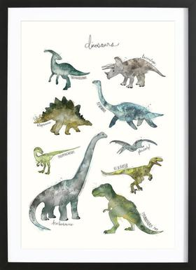 Dinosaurs affiche sous cadre en bois