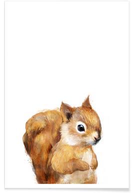 Kleines Eichhörnchen-Illustration Poster