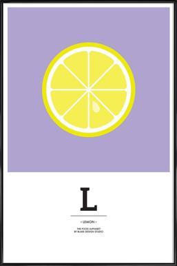 """""""The Food Alphabet"""" - L like Lemon ingelijste poster"""