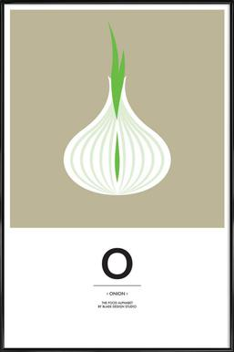 """""""The Food Alphabet"""" - O like Onion Affiche sous cadre standard"""