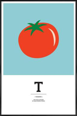 """The Food Alphabet"" - T like Tomato Affiche sous cadre standard"