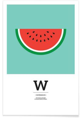 """The Food Alphabet"" - W like Watermelon Affiche"